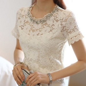 Bead Embellished Short Sleeve Lace Blouse White | 2mfashion.com