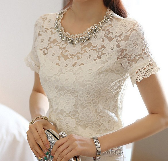 White Lace Blouse Short Sleeve | Fashion Ql